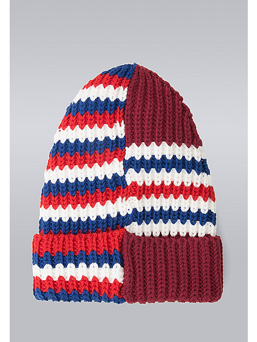 TOMMY HILFIGER Mixed Stripe Beanie - Hilfiger Edition - MARS RED/SNOW WHITE/SYRAH/SURF THE WEB - TOMMY HILFIGER Bags & Accessories - detail image 1