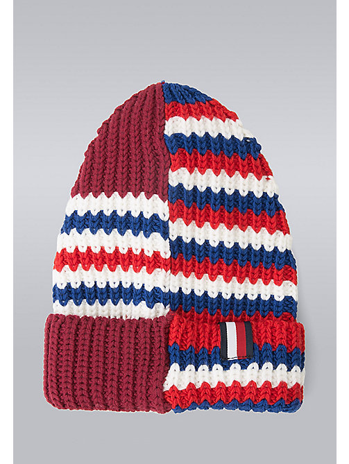 TOMMY HILFIGER Mixed Stripe Beanie - Hilfiger Edition - MARS RED/SNOW WHITE/SYRAH/SURF THE WEB - TOMMY HILFIGER Bags & Accessories - main image