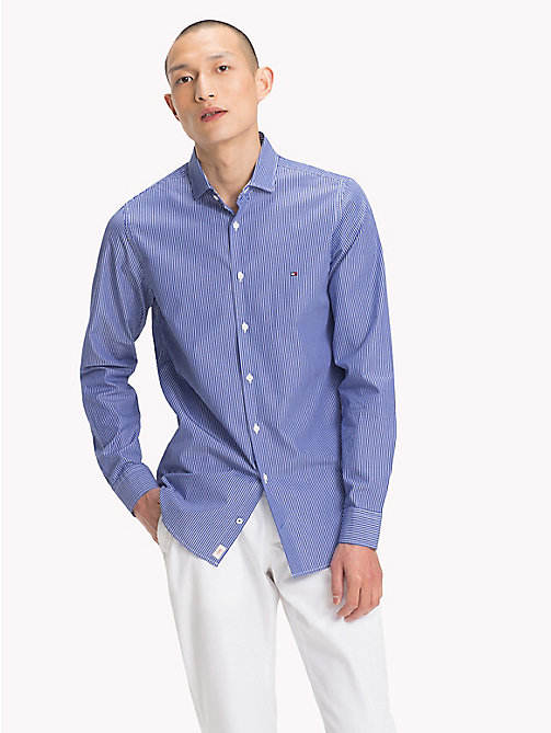 TOMMY HILFIGER Slim Fit Striped Shirt - MAZARINE BLUE / BRIGHT WHITE - TOMMY HILFIGER Casual Shirts - detail image 1