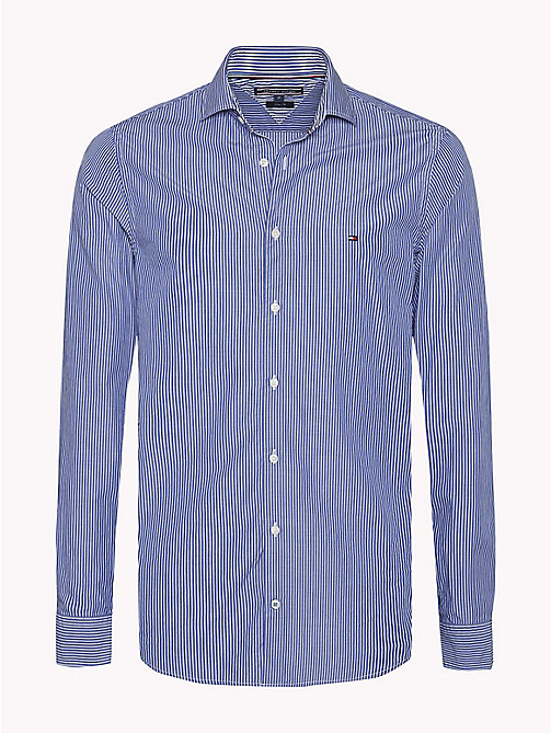 TOMMY HILFIGER Slim Fit Striped Shirt - MAZARINE BLUE / BRIGHT WHITE - TOMMY HILFIGER Casual Shirts - main image