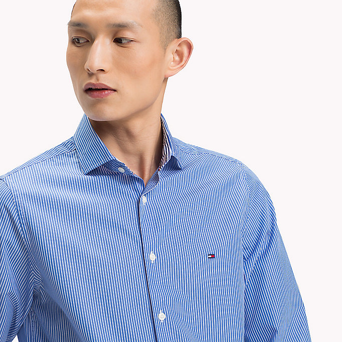 TOMMY HILFIGER Slim Fit Striped Shirt - MAZARINE BLUE / BRIGHT WHITE - TOMMY HILFIGER Clothing - detail image 3