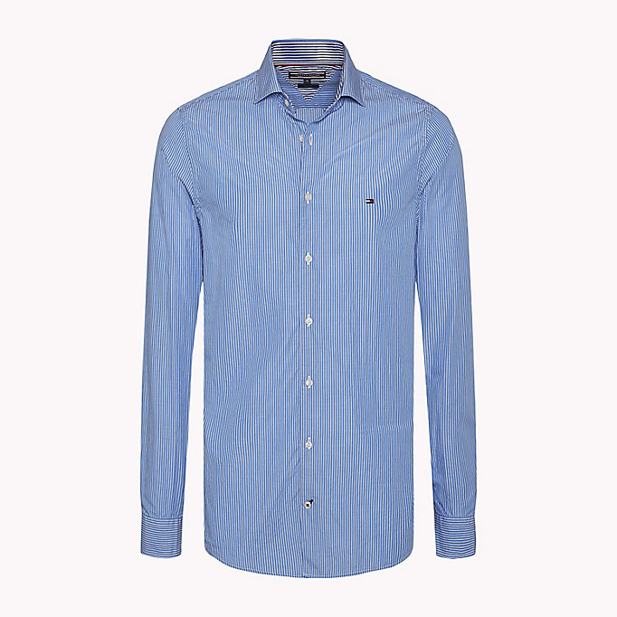 TOMMY HILFIGER Slim Fit Striped Shirt - MAZARINE BLUE / BRIGHT WHITE - TOMMY HILFIGER Clothing - main image