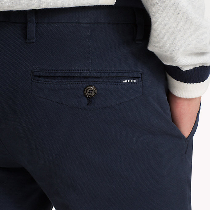 TOMMY HILFIGER Straight Fit Textured Chinos - DEEP DEPTHS - TOMMY HILFIGER Men - detail image 3