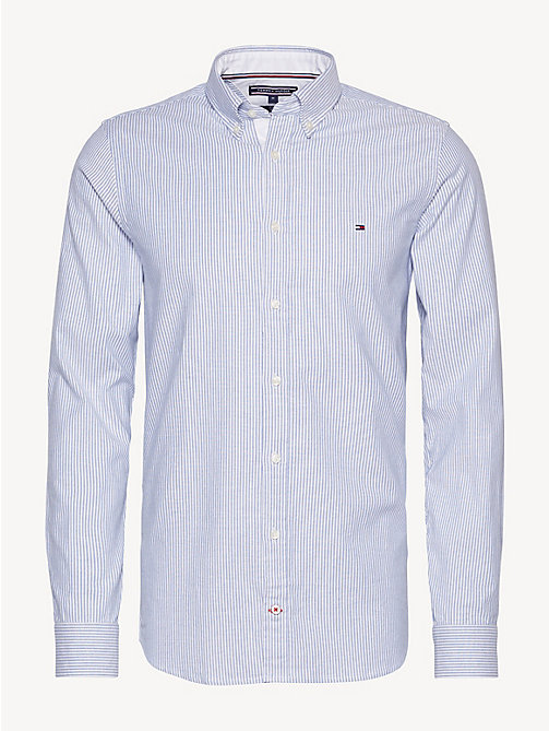 TOMMY HILFIGER Stripe Slim Fit Shirt - SHIRT BLUE / BRIGHT WHITE - TOMMY HILFIGER Basics - main image