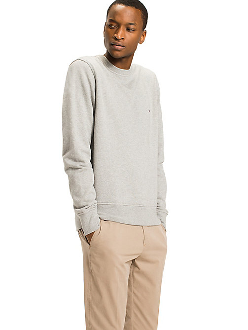 TOMMY HILFIGER Crew Neck Cotton Sweatshirt - CLOUD HTR - TOMMY HILFIGER Sweatshirts - main image