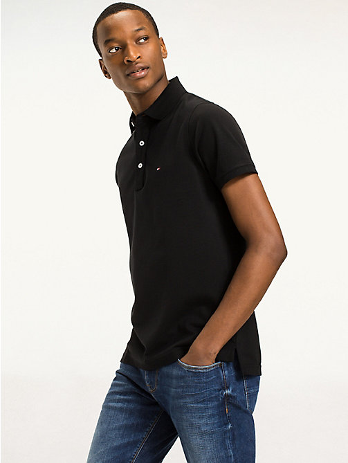 TOMMY HILFIGER Slim Fit Poloshirt - FLAG BLACK - TOMMY HILFIGER Basics - main image