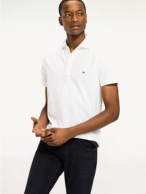 TOMMY HILFIGER Slim Fit Polo - BRIGHT WHITE - TOMMY HILFIGER Basics - main image