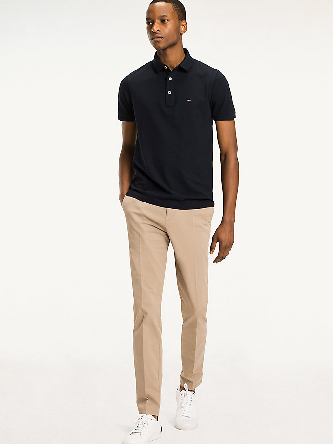 TOMMY HILFIGER Classic Slim Fit Polo Shirt - FLAG BLACK - TOMMY HILFIGER Clothing - main image
