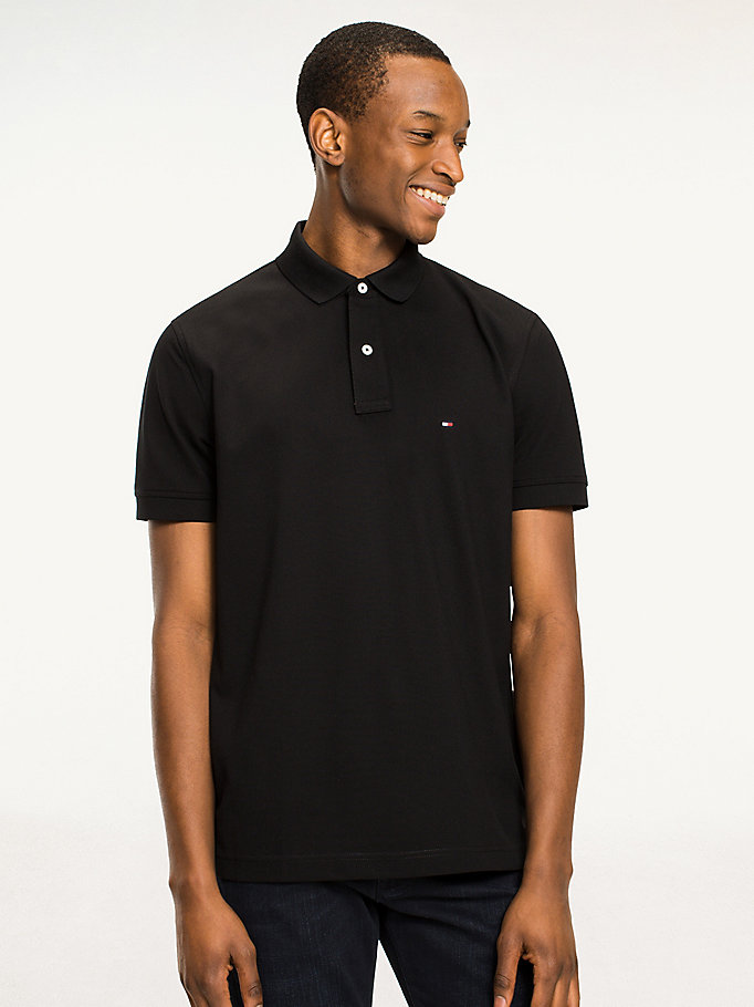 black regular fit cotton polo shirt for men tommy hilfiger