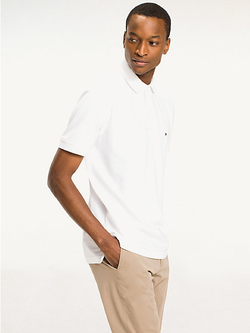 TOMMY HILFIGER Regular Fit Cotton Polo Shirt - BRIGHT WHITE - TOMMY HILFIGER Basics - main image