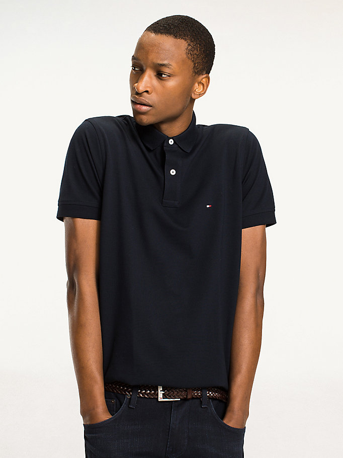 TOMMY HILFIGER Regular Fit Baumwoll-Poloshirt - FLAG BLACK - TOMMY HILFIGER Herren - main image