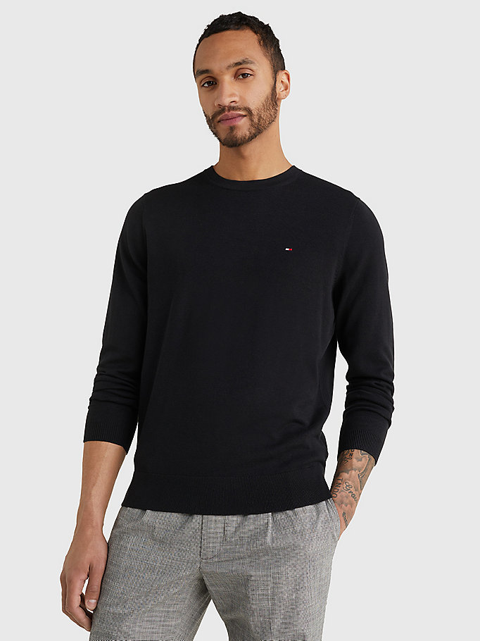 pullover girocollo regular fit nero da uomo tommy hilfiger