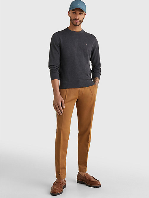 TOMMY HILFIGER Regular Fit Crew Neck Jumper - CHARCOAL HTR - TOMMY HILFIGER Basics - detail image 1