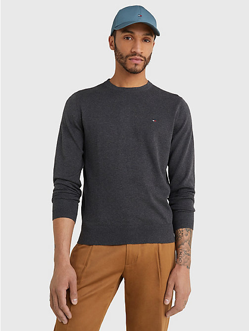 TOMMY HILFIGER Regular Fit Crew Neck Jumper - CHARCOAL HTR - TOMMY HILFIGER Basics - main image