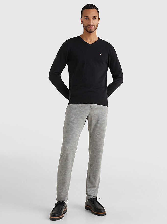 TOMMY HILFIGER V-Neck Cotton Blend Sweatshirt - CHARCOAL HTR - TOMMY HILFIGER Men - detail image 1
