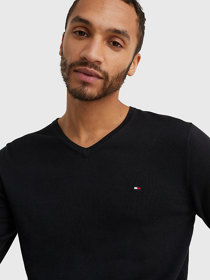 TOMMY HILFIGER V-Neck Cotton Blend Sweatshirt - CHARCOAL HTR - TOMMY HILFIGER Men - detail image 2
