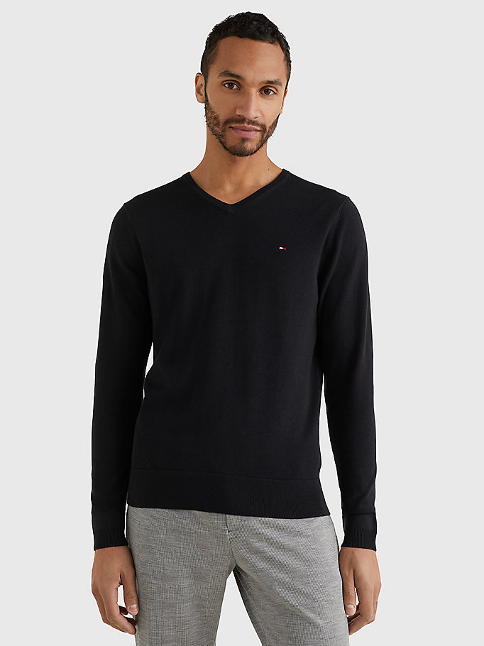 TOMMY HILFIGER V-Neck Cotton Blend Sweatshirt - CHARCOAL HTR - TOMMY HILFIGER Men - main image