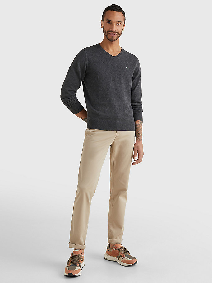TOMMY HILFIGER V-Neck Cotton Blend Sweatshirt - CLOUD HTR - TOMMY HILFIGER Men - detail image 1
