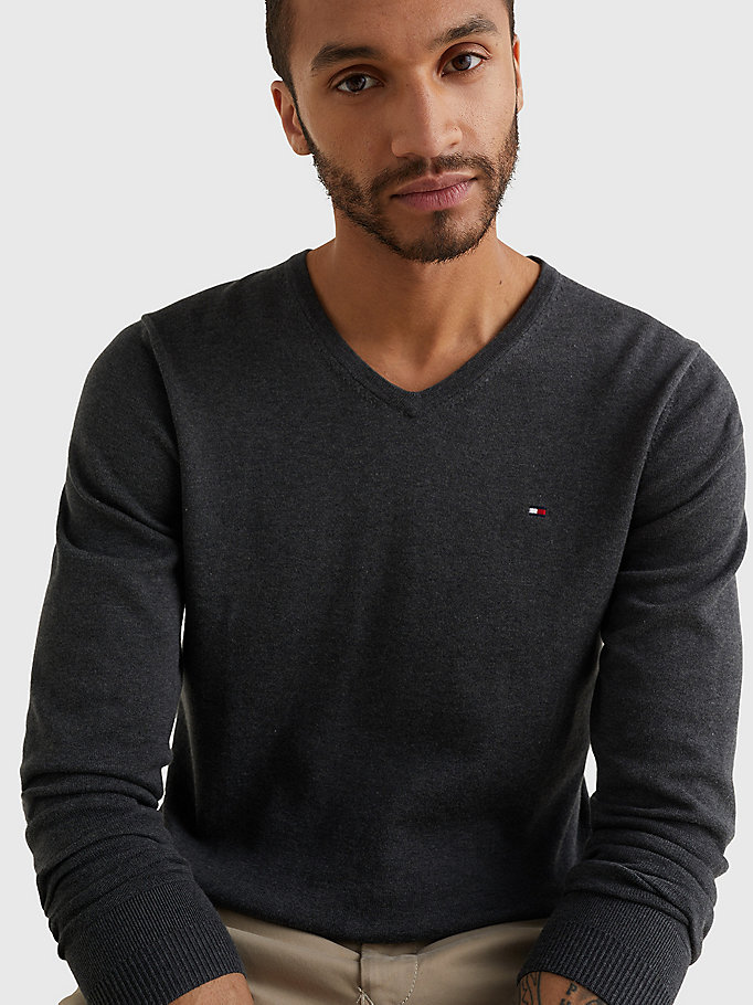 TOMMY HILFIGER V-Neck Cotton Blend Sweatshirt - CLOUD HTR - TOMMY HILFIGER Men - detail image 2