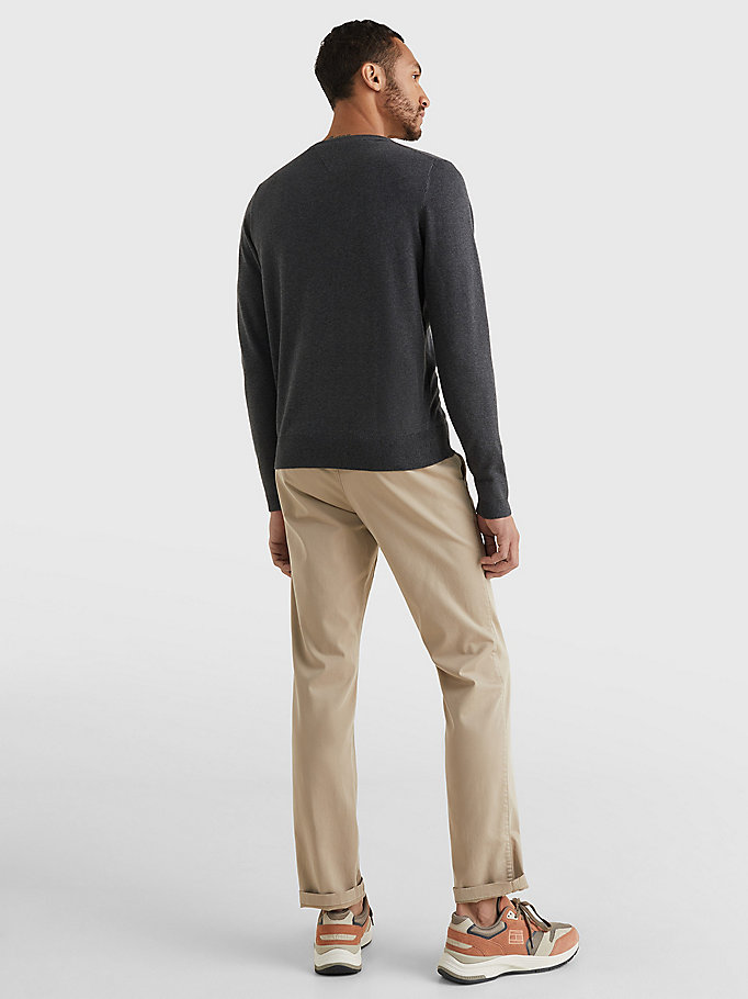 TOMMY HILFIGER V-Neck Cotton Blend Sweatshirt - CLOUD HTR - TOMMY HILFIGER Men - detail image 3