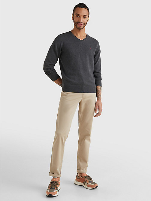 TOMMY HILFIGER V-Neck Cotton Blend Sweatshirt - CHARCOAL HTR - TOMMY HILFIGER Basics - detail image 1