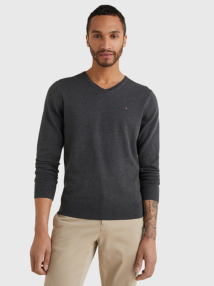 TOMMY HILFIGER V-Neck Cotton Blend Sweatshirt - CLOUD HTR - TOMMY HILFIGER Men - main image