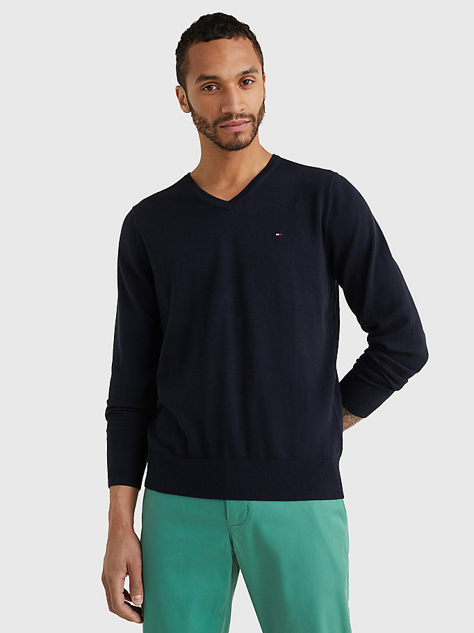 TOMMY HILFIGER V-Neck Cotton Blend Sweatshirt - FLAG BLACK - TOMMY HILFIGER Men - main image
