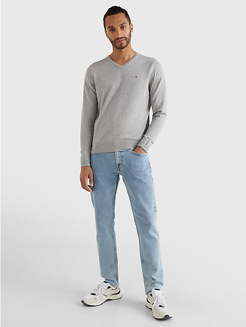 TOMMY HILFIGER V-Neck Cotton Blend Sweatshirt - CLOUD HTR - TOMMY HILFIGER Basics - detail image 1