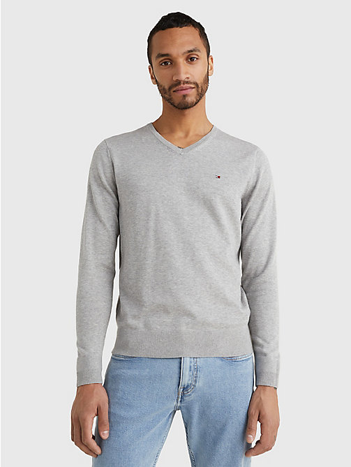 TOMMY HILFIGER V-Neck Cotton Blend Sweatshirt - CLOUD HTR - TOMMY HILFIGER Basics - main image