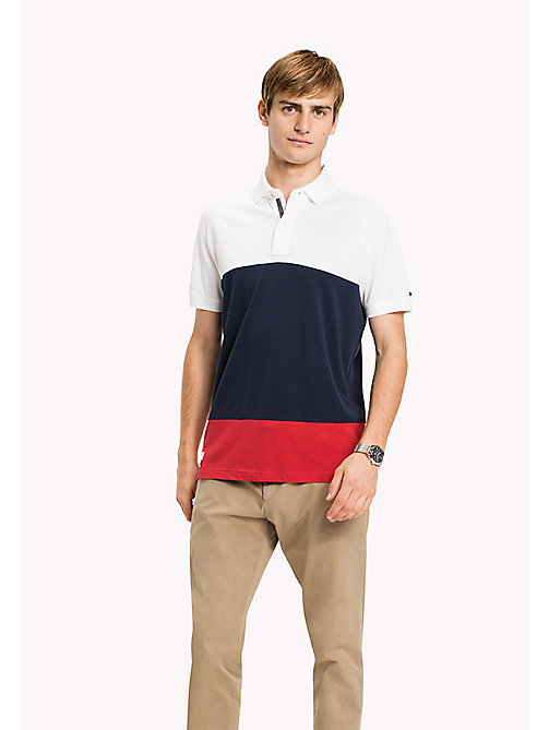 TOMMY HILFIGER Colourblocked Polo - BRIGHT WHITE / MULTI - TOMMY HILFIGER Polo Shirts - main image