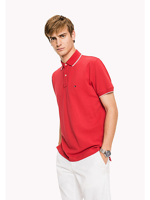 TOMMY HILFIGER Regular Fit Tipped Polo - BARBADOS CHERRY - TOMMY HILFIGER Father's day - main image