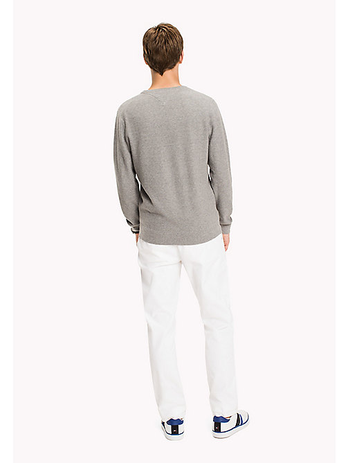 TOMMY HILFIGER Pure Cotton V-Neck Jumper - SILVER FOG HTR - TOMMY HILFIGER Трикотаж - подробное изображение 1