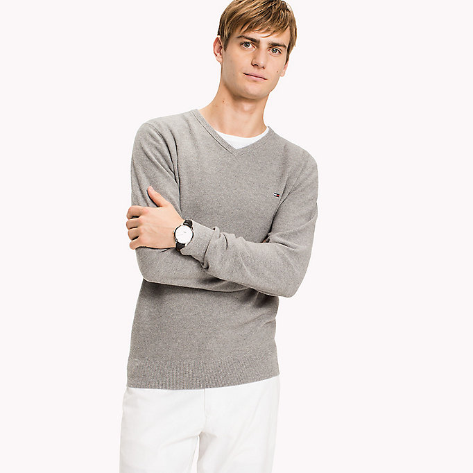 TOMMY HILFIGER Pure Cotton V-Neck Jumper - BARBADOS CHERRY HEATHER - TOMMY HILFIGER Men - main image