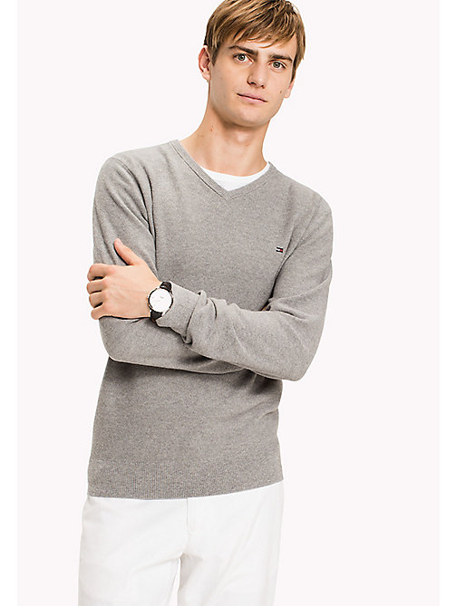 TOMMY HILFIGER Pure Cotton V-Neck Jumper - SILVER FOG HTR - TOMMY HILFIGER Трикотаж - главное изображение