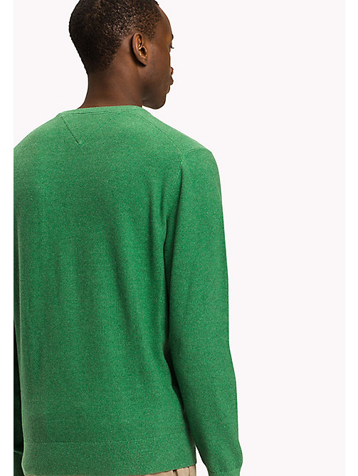TOMMY HILFIGER Pure Cotton V-Neck Jumper - JOLLY GREEN HEATHER - TOMMY HILFIGER Pulls & Gilets - image détaillée 1