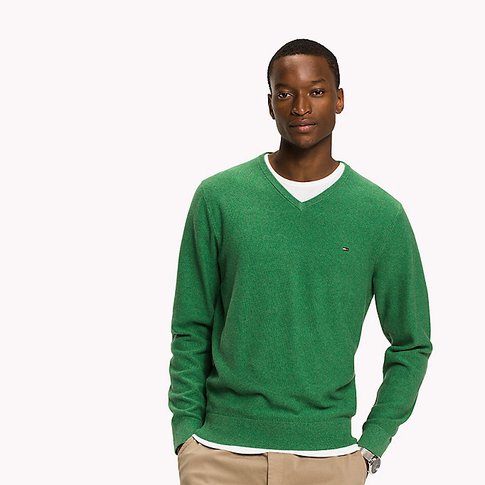 TOMMY HILFIGER Pure Cotton V-Neck Jumper - FANFARE HTR - TOMMY HILFIGER Clothing - main image