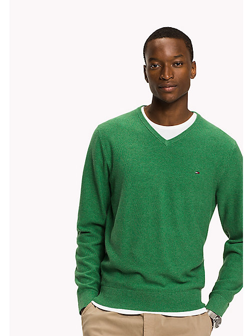 TOMMY HILFIGER Pure Cotton V-Neck Jumper - JOLLY GREEN HEATHER - TOMMY HILFIGER Pulls & Gilets - image principale