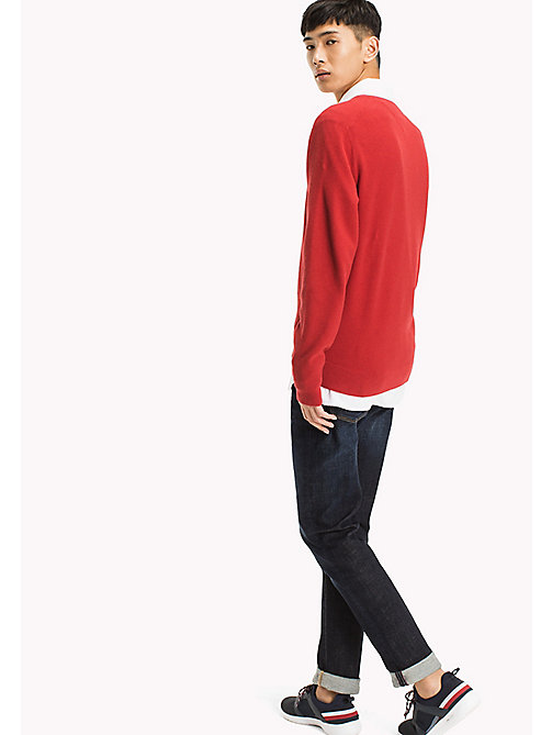 TOMMY HILFIGER Pure Cotton V-Neck Jumper - HAUTE RED HEATHER - TOMMY HILFIGER Jumpers - detail image 1