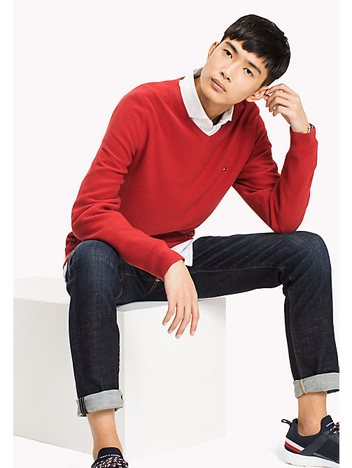 TOMMY HILFIGER Pure Cotton V-Neck Jumper - HAUTE RED HEATHER - TOMMY HILFIGER Jumpers - main image