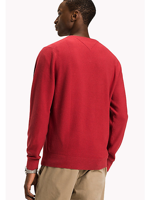 TOMMY HILFIGER Pure Cotton V-Neck Jumper - BARBADOS CHERRY HEATHER - TOMMY HILFIGER Pulls & Gilets - image détaillée 1