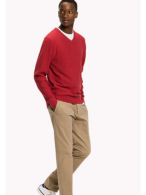 TOMMY HILFIGER Pure Cotton V-Neck Jumper - BARBADOS CHERRY HEATHER - TOMMY HILFIGER Pulls & Gilets - image principale