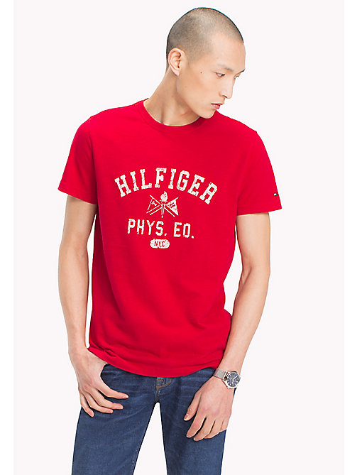 TOMMY HILFIGER Logo Print Regular Fit T-Shirt - BARBADOS CHERRY - TOMMY HILFIGER T-Shirts - main image