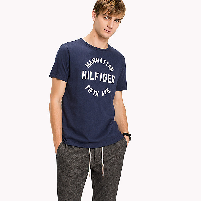 TOMMY HILFIGER Logo Print Regular Fit T-Shirt - CLOUD HTR - TOMMY HILFIGER Men - main image