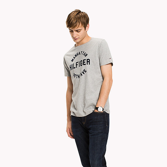 TOMMY HILFIGER Logo Print Regular Fit T-Shirt - JOLLY GREEN HEATHER - TOMMY HILFIGER Men - main image