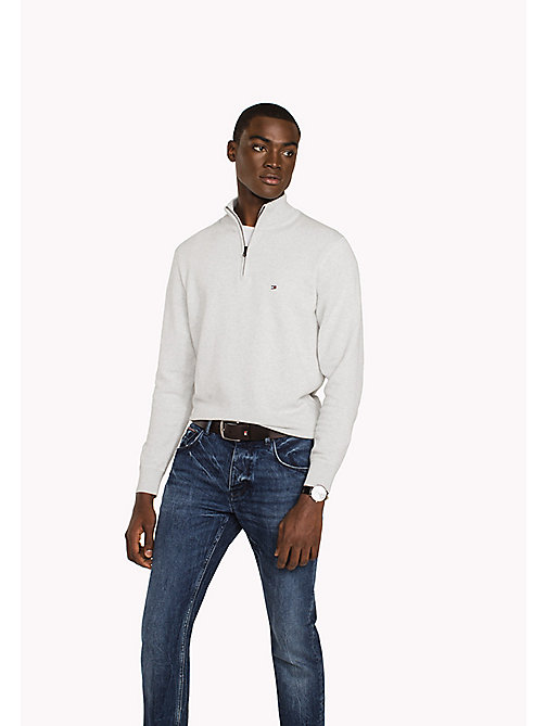 TOMMY HILFIGER Zip Neck Cotton Jumper - GRAY VIOLET HEATHER - TOMMY HILFIGER Clothing - main image