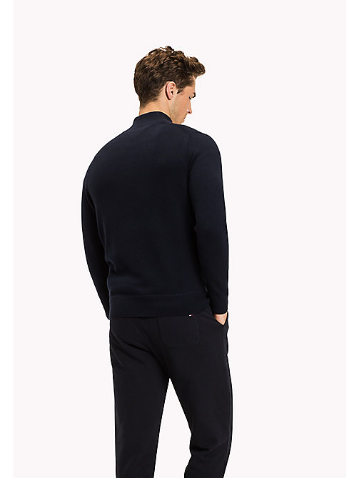 TOMMY HILFIGER Zip Neck Cotton Jumper - NAVY BLAZER - TOMMY HILFIGER Jumpers - detail image 1