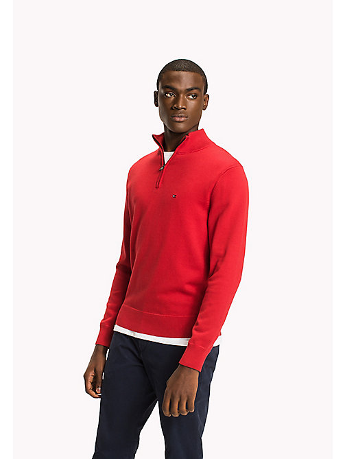 TOMMY HILFIGER Zip Neck Cotton Jumper - HAUTE RED - TOMMY HILFIGER Clothing - main image
