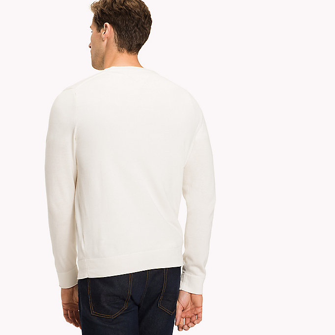 TOMMY HILFIGER Cotton Linen Crew Neck Jumper - DUTCH BLUE - TOMMY HILFIGER Men - detail image 1