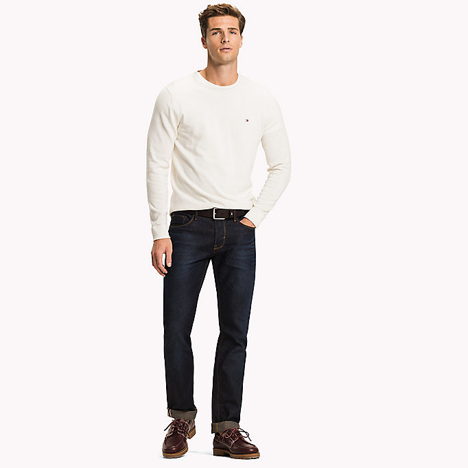 TOMMY HILFIGER Cotton Linen Crew Neck Jumper - DUTCH BLUE - TOMMY HILFIGER Men - main image