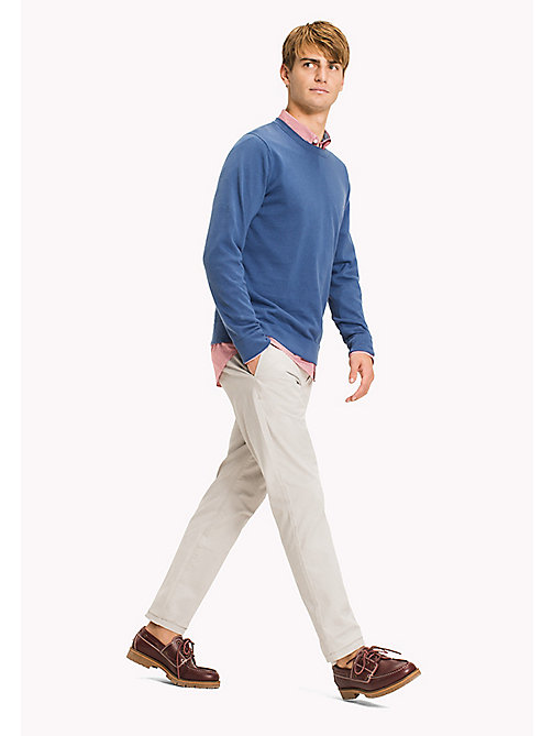 TOMMY HILFIGER Cotton Linen Crew Neck Jumper - DUTCH BLUE - TOMMY HILFIGER Jumpers - main image